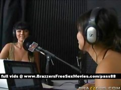 Two young brunette babes at a radio station