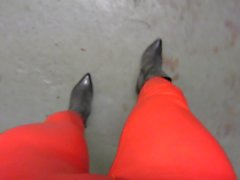 Strutting in my only short boots red skintight leggings