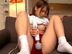 Asian teen amateur toys herself