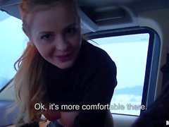 Busty Russian girl Alexa gives car blowjob