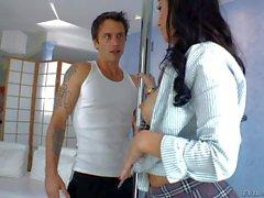 Buxom Latina Valerie Kay in sexy uniform gives headjob
