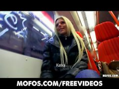 Gorgeous blonde Czech girl is picked up and paid for public sex