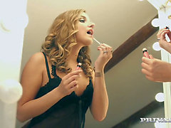 Golden-Haired cutie in nylons Sofi Goldfinger acquires great facial