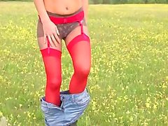 horny striptease outdoor by the forest
