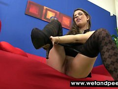 Mona Lee gets wet wearing heels and pantyhose
