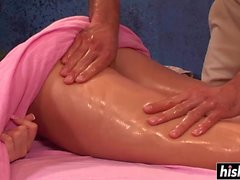 Hot girl gets massaged with a dick