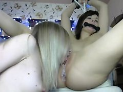 Blonde and brunette lesbian action