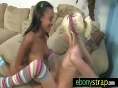 Interracial Lesbians Fuck With a Strapon 8