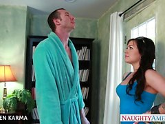 Tattoed brunette Karmen Karma slurps a big dick
