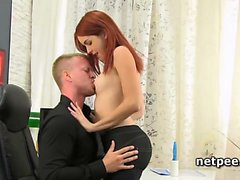 Amarna Miller seducing her boss with a BJ
