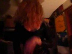 Lady slamming in latex