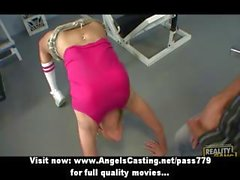 Gorgeous blonde teen with natural tits fuking in the fitness room