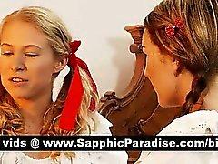 Himmlische Rothaarige und Blondine Lesbos küssen und lecken