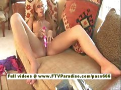 Leslie sexy blonde babe toying pussy using a vibrator