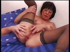 Mature French brunette bitch Jackie gets drilled in her hairy snatch and ass