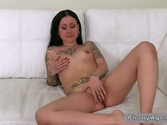 Tattooed petite amateur bangs on her casting