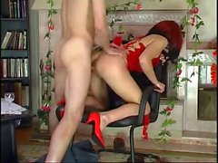 Hot Euro Granny Redhead Banging in Heels