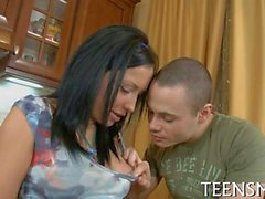 Chubby teen rides erect shaft
