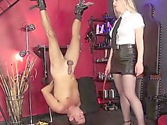English mistress spanking her suspended sub