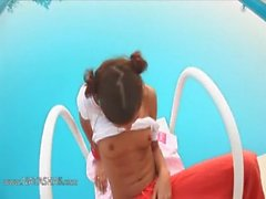 smart Natasha masturbating at pool