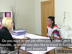 Huge tits female agent licks amateur gal on casting
