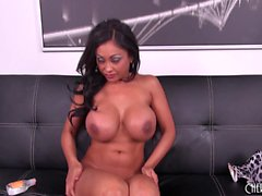 Spicy brunette milf with big hooters Priya Rai takes herself to climax