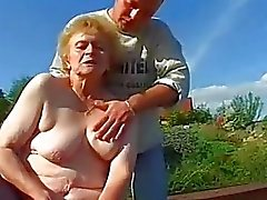 Very Old Lady In Stockings Gets Big Dick