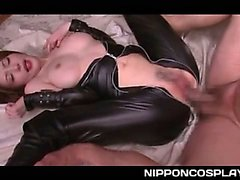 Lusty jap queen in latex deep throatead and licked in sixtynine