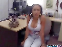 Voluptuous Latina nailed in pawn shop office