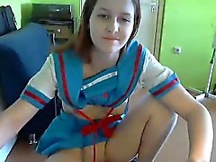 Brunette is asked on her webcam show to finger her pink sli
