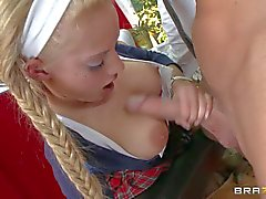 Busty blonde schoolgirl Lou Lou gets nailed by Johnny