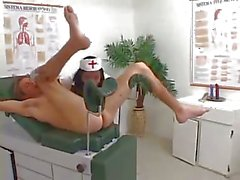 Asian nurse treating guy