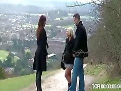 British blonde slut gets fucked after falling off a bike
