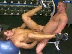 De deux gays ayant des relations sexuelles anaux en gymnastique