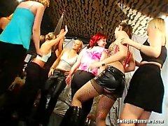 Slutty party chicks sucking dicks in club