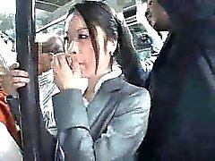 Jovenes Officegirl buscó a tientas por Desconocido Negro