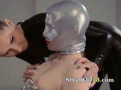 Luxury strapon girl2girl in mask playing