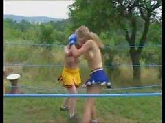 Topless College Cheerleader Boxing