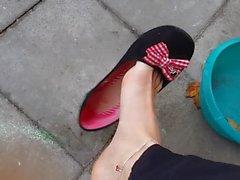 Shoeplay dangling of cute slavegirl cookie
