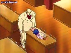 Anime öğretmen onun önünü ovuşturdu alır