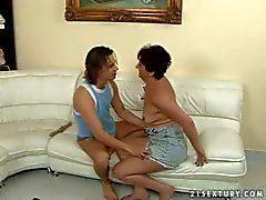 granny sucks and rides on young stud