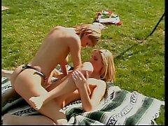 Blonde lesbians have sixty nine oral sex