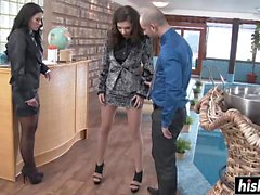 Athena and Henessy pleasure a lucky guy