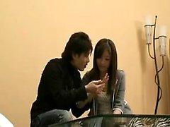 Slender Japanese babe has a horny boy caressing her marvelo