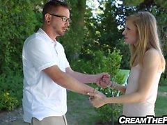 Girlfriend tricks boyfriend to creampie
