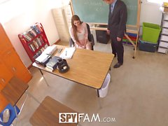 SpyFam Teacher stepdaughter Nina Skye seduces stepdad principal