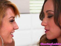 Lesbian babe queening her girlfriend