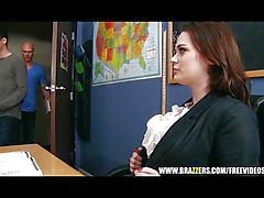 Hot teacher lets her student fuck her rough