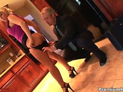Blonde office whore brings a file to her boss and gets