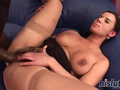 Busty honey has her hirsute cunt destroyed